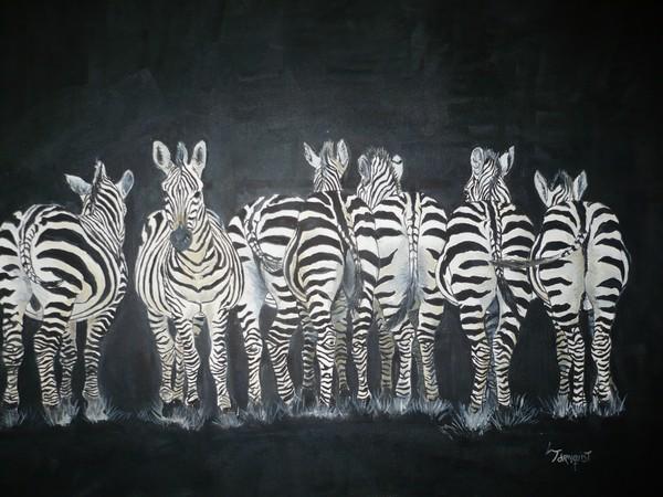 Digitalt billede af maleriet striber primær farve sort sekundær