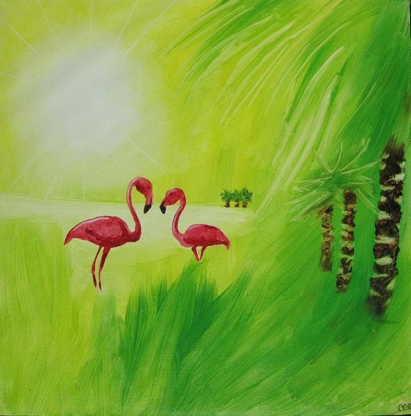 Digitalt billede af maleriet flamingo primær farve gul sekundær