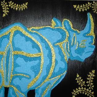 Digitalt billede af maleriet næsehorn primær farve tyrkis